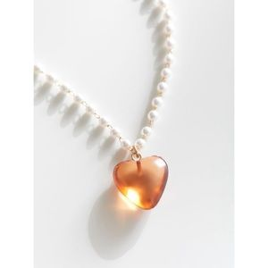 Heart stone pearl necklace